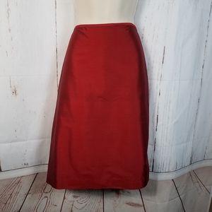 Brooks Brothers 10 Red Silk Pencil Skirt